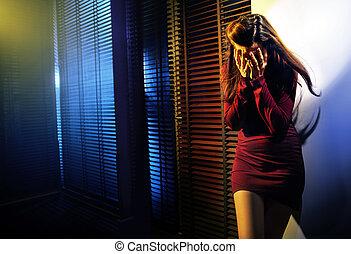 Portrait einer weinenden Frau.
