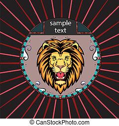 Portrait eines Löwen im Kreis.