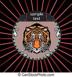 Portrait eines Tigers im Kreis.