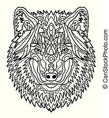Portrait eines Wolfs. Hand gezeichnete Muster zur Farbgebung. Freehand Zeichnung für erwachsene Antistress-Farbenbuch im zentangle Stil. Sammlung von Tieren.
