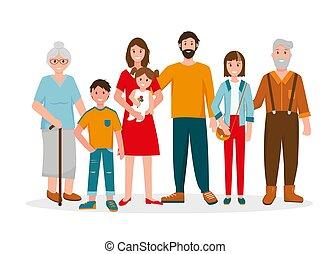 portrait., generation., drei, familie, glücklich