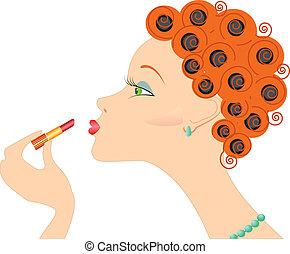 Portrait von Frau mit Lippenstift. Mach Kosmetik.