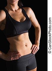 posierend, abschnitt, schlanke, anfall, mittler, sportkleidung, frau