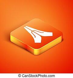 position, isometrisch, gott, ikone, glaube, gebet, freigestellt, vektor, hope., orange, hände, abbildung, hintergrund., beten