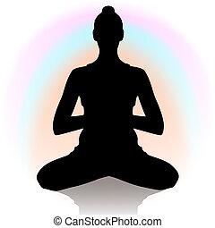 position, silhouette, joga, frau