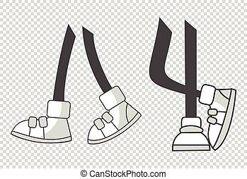 positions., freigestellt, gehen, legs., verschieden, färbung, füße, karikatur, beine, vektor, boots., abbildung