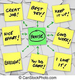 positiv, notizen, comments, klebrig, besprechungen, lob