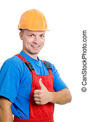 Positive Bauarbeiter isoliert