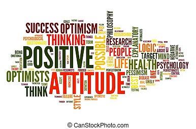 positive einstellung, begriff, etikett, wolke