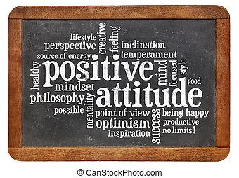 positive einstellung, begriff, tafel