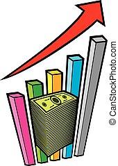 Positive Unternehmensgrafik mit Pfeil und großem Geldstapel - Business Konzept.