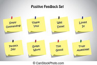 Positives Feedback post es Note set