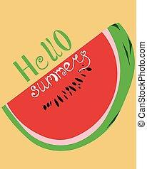 postcard., advertising., hallo, gelber , summer., flieger, hintergrund, hell, design, watermelon.