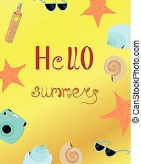 postcard., fotoapperat, hallo, advertising., summer., sonne, flieger, gegenstände, hell, schalen, sand., design