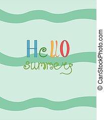postcard., mehrfarbig, hallo, advertising., summer., meer, flieger, hell, design, letters., wellen