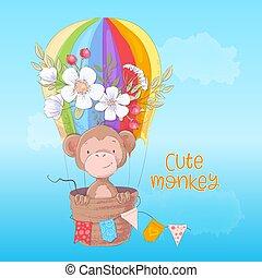 Postcard-Poster eines süßen Affen in einem Ballon mit Blumen im Zeichentrick-Stil. Handzeichnung.