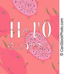 postcard., rosa, hallo, advertising., summer., pitaya., hintergrund, hell, flieger, design