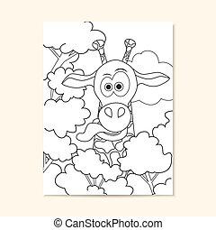 Poster mit lustiger Giraffe. Kann für die Gestaltung von Buchseiten verwendet werden.