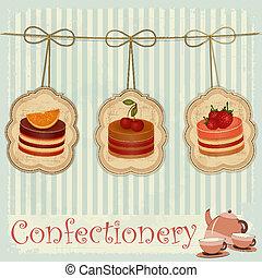 Postkarte mit Kuchen.