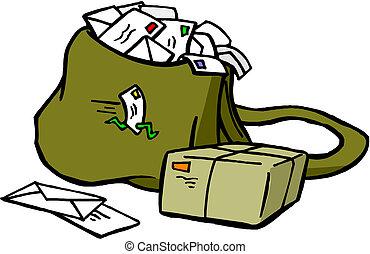 Postsack mit Brief und Postfach
