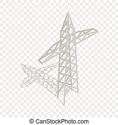 Power Transmission Tower isometrische Ikone.
