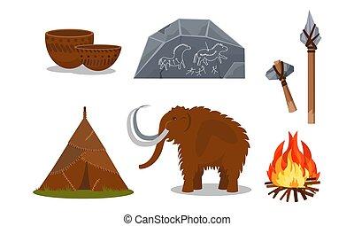 prähistorisch, weißes, leute, vektor, werkzeuge, illustrationen, attributes, freigestellt, hintergrund, uralt