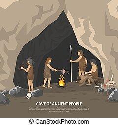 Prähistorische Höhlenmalerei.