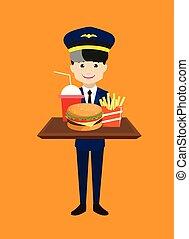 präsentieren, schnell, pilot, essen, -