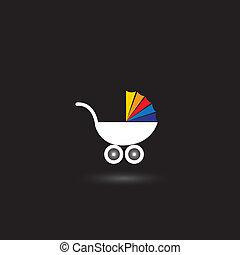 Pram für Säuglinge nad Kids Vektor Icon mit buntem Top.
