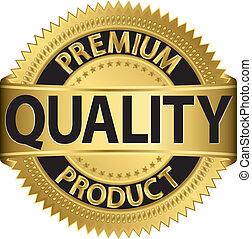 Premiumqualitätsprodukt, goldenes Laub
