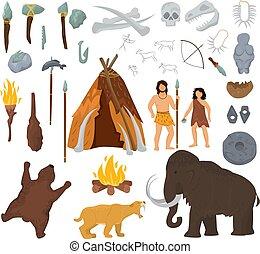 Primitive Menschen Vektor Mammut und altertümliche Höhlenfiguren in Steinzeit Höhlen illustrieren prähistorische Menschen mit Steinwaffe und Flamme isoliert auf weißem Hintergrund.