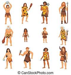Primitive Menschen Vektor Urneandertaler Cartoon Charakter und alter Höhlenmensch in Steinzeit Höhlen illustrieren prähistorische Menschen, isoliert auf weißem Hintergrund.