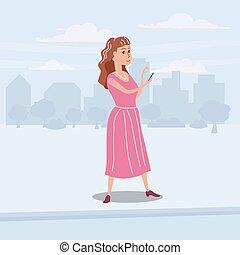 Printgirl-Teenager schaut auf dem Weg in Smartphone, Hintergrundstadt, Vektor, Illustration, Comic-Stil, isoliert.