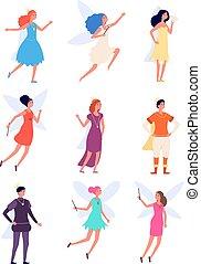 prinz, princess., junge, königin, koenig, person, charaktere, feen, vektor, fee, satz, mittelalterlich, fantasie, königlich, monarchie, m�dchen, costumes.
