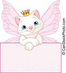 Prinzessin Cat über ein leeres Zeichen