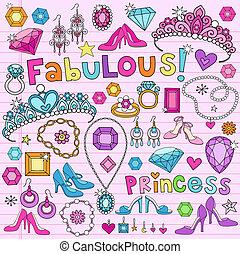 Prinzessin-Doodles-Vektor-Set