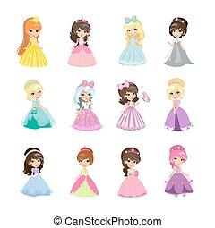 Prinzessinnen in Abendkleidern isolierten Vektor