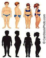 problem, frau, mann, übergewichtige