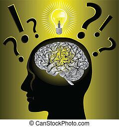 problem, gehirn, lösen, idee
