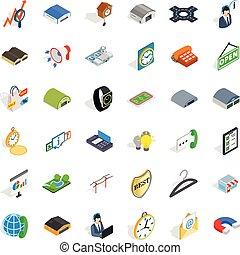 Procurement-Aktivitäts-Icons gesetzt, isometrische Stil