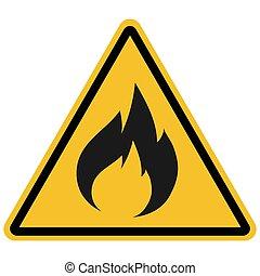 produkte, zeichen, brennbar, abbildung, vektor, warnung