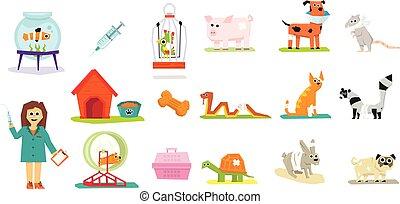 Professionelle Tierärzte und Haustiere Set, Veterinärmedizin-Vektor Illustrations auf weißem Hintergrund.