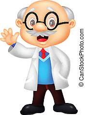 Professor Cartoon winkt.