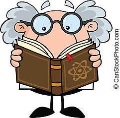 Professor liest ein Buch.