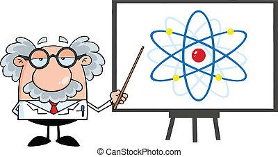 Professor mit einem Atomdiagramm