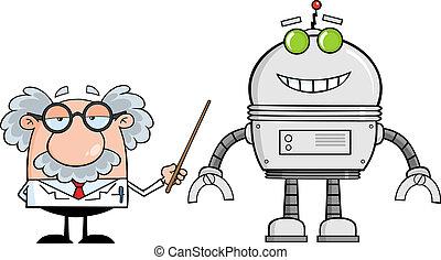 Professor mit einem großen Roboter.