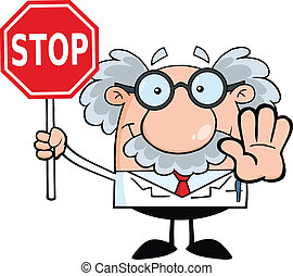 Professor mit einem Stoppschild
