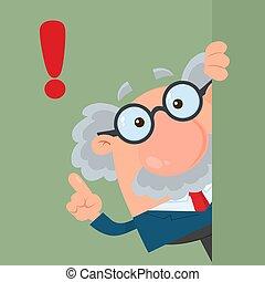Professor oder Wissenschaftler Cartoon Charakter, der um die Ecke schaut mit Rat