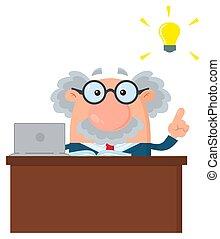 Professor oder Wissenschaftler Cartoon Charakter hinter dem Schreibtisch mit einer großen Idee