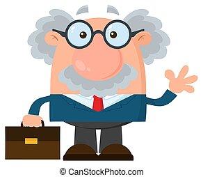 Professor oder Wissenschaftler Cartoon Charakter mit Aktentaschen winken
